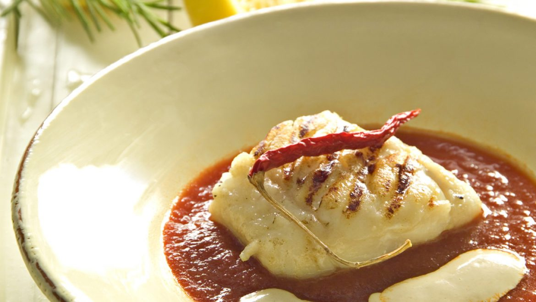 Fish in Spicy Tomato  Sauce and Tahini